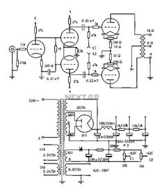 Vented 2a3p 2a3pp-15w Tube Amplifier circuit diagram