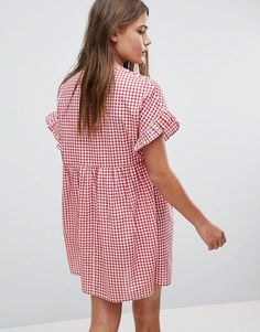 ASOS | ASOS Casual Mini Smock Dress in Gingham with Bunny Tie
