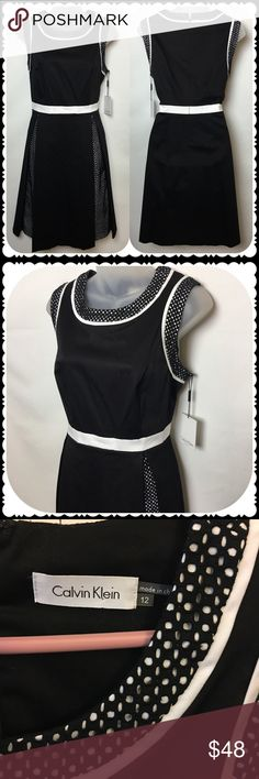 NWT Calvin Klein Fit and Flare Dress Size 12 Gorgeous black and white Calvin Klein Fit and Flare Dress  Size 12 Material pictured  Bust measures 18 inches across Waist measures 16 inches across Length is 38 inches Calvin Klein Dresses