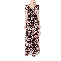 Wallis Red animal print belted maxi dress- at Debenhams.com
