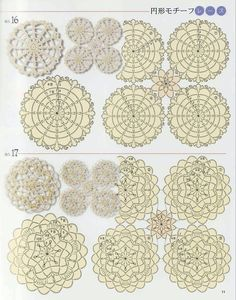 free pattern charts - many circular motifs, enlarged they are a little difficult…