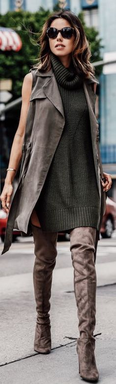 Taupe And Green Highstreet Stylish Fall Inspo