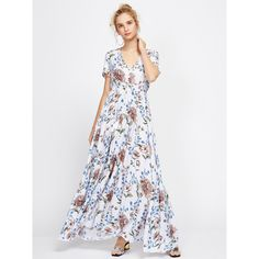 Floral Print Drawstring Waist Maxi Dress With Fringe (51 BAM) ❤ liked on Polyvore featuring dresses, white day dress, floral maxi dress, white dress, floral print maxi dress and floral print dress