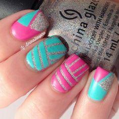 Silver glitter pink and aqua blue stripe