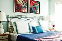 Fun bedroom by Nick Olsen, photo by Reid Rolls. Home Tour: A Pattern-Packed Townhouse in Brooklyn Heights via Let's Go To Bed, Townhouse Apartments, Home Bedroom, Bedroom Ideas, Master Bedroom, Preppy Bedroom, Bedroom Decor, Stylish Beds, Brooklyn Heights