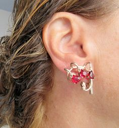 Sold $23.00  WOW Vintage Sterling & Ruby Red GLASS Clip On EARRINGS by feathersoup on Etsy