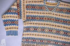 Description Fair Isle jumper from Shetland Museum Knitwear Collection. Tex 1990 - 542.