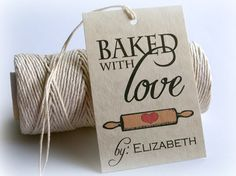 Baked With Love Printable Gift Tags, DIY Baking Christmas Tags, Custom Food Favors, Country Kitchen, Tea Party Tags by Event Printables
