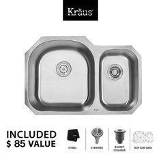 """View the Kraus KBU23 31-1/2"""" Undermount 60/40 Double Bowl 16 Gauge Stainless Steel Kitchen Sink at FaucetDirect.com."""