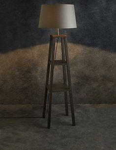 Theo Grey Wood Shelves Floor Lamp | M&S
