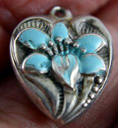 Old Vintage WALTER LAMPL Light Blue Enamel Nouveau Flower Silver Heart Charm | eBay