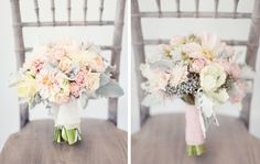 Dahlia Dusty Miller bouquet
