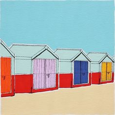 SiGNED ART PRINT Beach Huts by artyadz on Etsy, £8.95