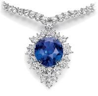 Magnificent Color Change Sapphire and Diamond Drop Necklace