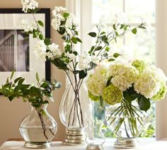 Shop Pottery Barn for expertly crafted decorative vases and vase fillers. Find glass, ceramic and metal vases in classic styles and colors to accent your home. Vases Decor, Table Centerpieces, Antique Lanterns, Green Hydrangea, White Hydrangeas, Diy Wedding Projects, Wedding Ideas, Diy Projects, Vase Fillers