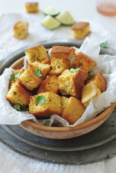Baked Spicy Cornbread Croutons