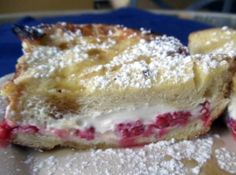 Raspberry And Cream Cheese Stuffed French Toast Recipe Cream Cheese Stuffed French Toast Recipe, Homemade French Bread, Bacon On The Grill, Exotic Food, Clean Eating Snacks, Tapas, Delish, Raspberry, Desserts