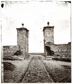 Going Nowhere: 1865. Wagon tracks and gate in St. Augustine, Florida.