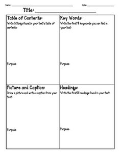 """.  Students must supply examples of each of the features that they find and describe the purpose of those features.  Students must also supply three supporting details and a main idea for their text.  This scavenger hunt can be used with any non-fiction text and has a space for the student to record the """"title"""" of the book they are reading.  Send me a message and I can change any of the text features to best fit your class."""