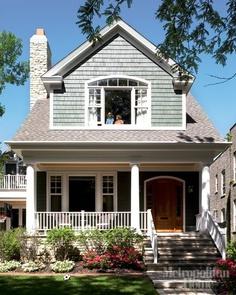 Blue-gray shakes, warm wood front door - love this combo