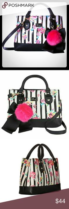 **ON SALE TONIGHT*Betsey Johnson Rose Handbag ! MAKE AN OFFER! Measurements: Bottom Width: 10 in Depth: 2 3?4 in Height: 7 1?2 in Strap Length: 42 in Strap Drop: 20 in Handle Length: 11 in Handle Drop: 4 in Weight: 13 oz Betsey Johnson Bags