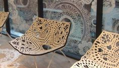 A chair perfect for relaxation Chair Design, Furniture Design, Furniture Ideas, Laser Co2, Laser Cutter Engraver, Laser Paper, Laser Cut Patterns, Filigree Design, Butterfly Chair