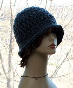 Womens Crochet Hat Flapper Brim Hat, Chunky Hat, roll up brim hat, cloche style hat in oatmeal and grey charcoal, Unique, gift for her #HatsForWomenCloche