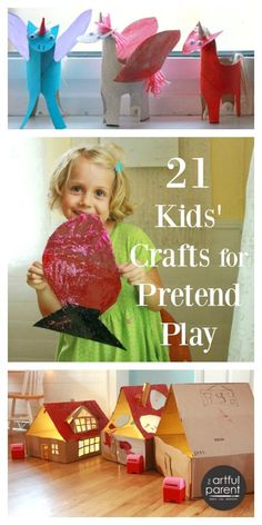 Craft ideas for kids that can also be used for pretend play for double the creative fun. First, children enjoy making the craft, then they can play with it.