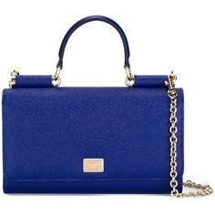 Dolce & Gabbana Mini \'Von\' Wallet Crossbody Bag ($1,095) ❤ liked on Polyvore featuring bags, mini crossbody bag, handle bag, mini crossbody, snap bag and blue bag