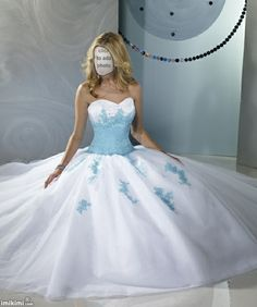 Princess style wedding dress with blue bodice and accent colors. How does baby blue look with your skin tone? Click to add your face to the photo and see.
