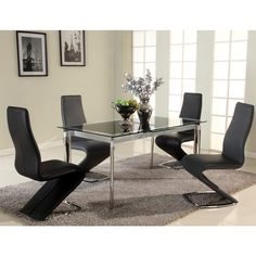 Christopher Knight Home Tamra Black Pop-Up Extension Glass Dining Table