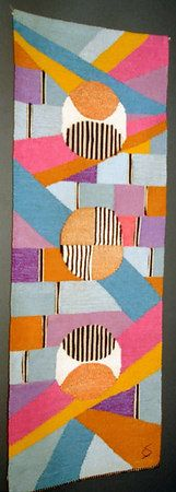 """Gunta Stolzl.  """"Kreise Gold"""" (Circles in Gold).  Wall carpet  1977  154x58 cm    Private collection"""