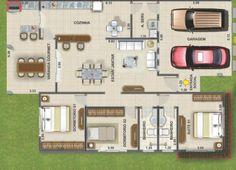plantas de casas com 3 quartos - Pesquisa Google