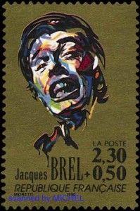 Jacques Brel auf französischer Briefmarke von 1990