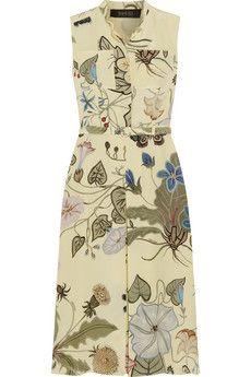Gucci Floral-print silk-cady dress | NET-A-PORTER