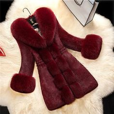 Winter Womens Faux Fur Parka Trench Coat New Slim Fit Long Jacket Casual Outwear in Clothing, Shoes & Accessories, Women's Clothing, Coats & Jackets Fur Collar Jacket, Faux Fur Collar, Fur Collars, Leather Collar, Women's Teddies, Rabbit Fur Coat, Vetement Fashion, Fur Clothing, Coats For Women
