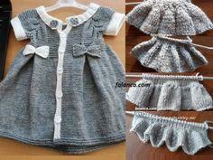 Elbise şeklinde yapılmış bebek yeleğinin ayrıntılı yapılışı sizlerle. Ön kısmı düğmeli bu örgü hem yelek hem elbise.