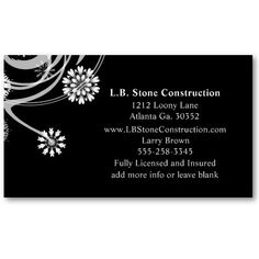 Black floral Business Card #BusinessCards