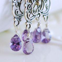 Amethyst Chandelier Earrings in Sterling Silver by livjewellery, $100.00