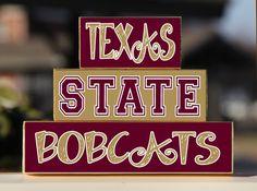 Texas State University - Trio Wood Blocks Stack - Gold/Maroon - Home Decor/Gift - San Marcos Texas - Wooden Blocks