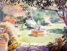 Garden Fountain.  Hazel Soan.   Watercolor