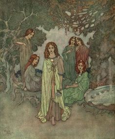 Edmund Dulac, illustration for The Garden of Paradise.  I don't remember what book it was... but I had a children's book of some kind filled with illustrations and stories. The illustrations were probably done by Edmund Dulac... but it brings back happy memories to see them. 6/23/2012