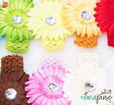 Ema Jane - Large Assorted Gerber Daisy Flower Hair Clip Bows with Soft Stretch Crochet Child Headbands - Will Fit Infant Baby, Newborns, to Toddlers to Youth Girls (26 Pack, 13 Flower Clips   13 Crochet Head Bands) ** See this great product.