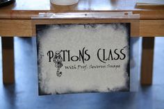 Mrs. Nespy's World: Our Harry Potter Party - Potions Class  printable sign as well as potions books. Wish I had found this sooner, would have done these potions with the kids!  if I ever do this again....