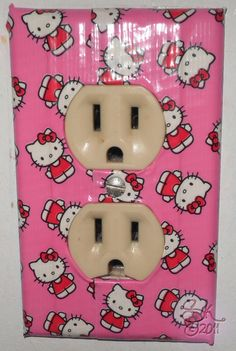 Hello Kitty duct tape wall outlet cover.