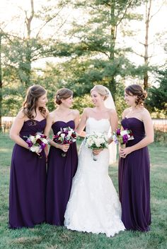 Bridesmaids in the deepest of purple color -- see more on #smp here: http://www.StyleMePretty.com/tri-state-weddings/2014/04/17/new-jersey-barn-wedding-full-of-elegance/ Photography: Michelle Lange - www.LoveAndBeMarried.com