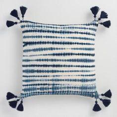 Indigo Tie Dye Ripple Throw Pillow: Black/Blue by World Market Tie Dye Colors, Blue Tie Dye, Tye Dye, Tie Dye Bedding, Tie Dye Crafts, Cushion Cover Designs, Shibori Tie Dye, Textiles, Indigo Dye