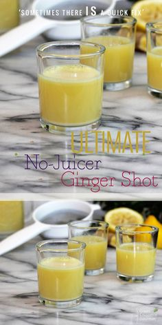 Ginger-Lemon Shots without a juicer! Sometimes there IS a quick fix! # ginger shot recipe without Ginger Lemon Shots Blender Recipe - Green Smoothie Gourmet Healthy Green Smoothies, Fruit Smoothies, Healthy Drinks, Smoothie Recipes, Simple Smoothies, Juice Recipes, Yogurt Recipes, Jam Recipes, Drink Recipes