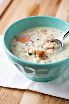 Creamy Chicken and Wild Rice Soup with Bacon, a hearty and comforting soup that's perfect for the last days of winter.