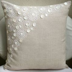 Luxury Ecru Pillow Cases, Pearl Flower Mother Of Pearls Floral Theme Pillows Cover 18x18 Cotton Linen Pillows Covers For Couch - Elegance ______________________________________________________________________________ The design Elegance has been conceptualized and created, keeping in mind the finest details and needs to decorate your beautiful abode. It is a perfect addition to enhance your living room, bedroom, guestroom or office. I promise it will give a WOW factor to you and your guests…